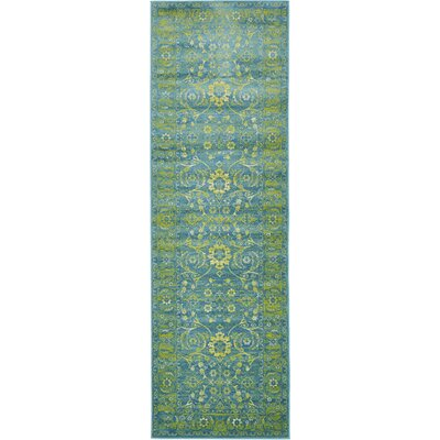 Bolton Turquoise/Green Area Rug Rug Size: Runner 3 x 91