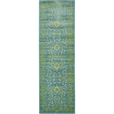 Yareli Turquoise/Green Area Rug Rug Size: Runner 3 x 91