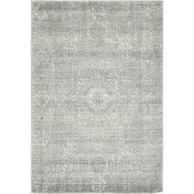 Delit Gray Area Rug Rug Size: 4 x 6
