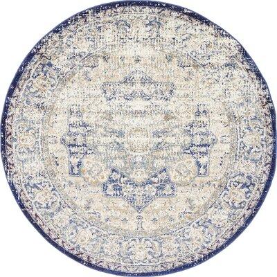 Koury Blue/Beige Area Rug Rug Size: Round 5 x 5