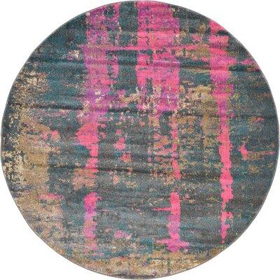 Coakley Pink Area Rug Rug Size: Round 6