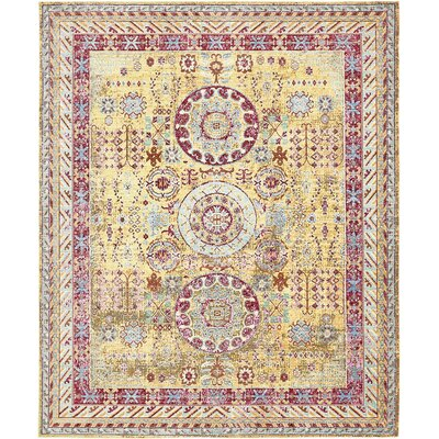 Carrico Yellow Area Rug Rug Size: 8 x 10