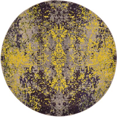 Fujii Gray/Yellow Area Rug Rug Size: Round 8