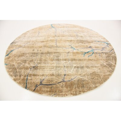 Essex Light Brown Area Rug Rug Size: Round 6