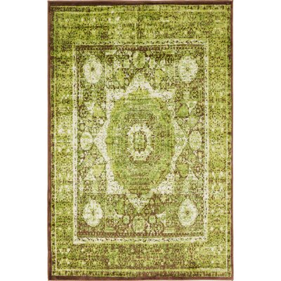 Hezekiah Green/Brown Area Rug Rug Size: 4 x 6