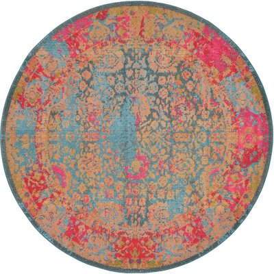 Enid Blue Area Rug Rug Size: Round 8