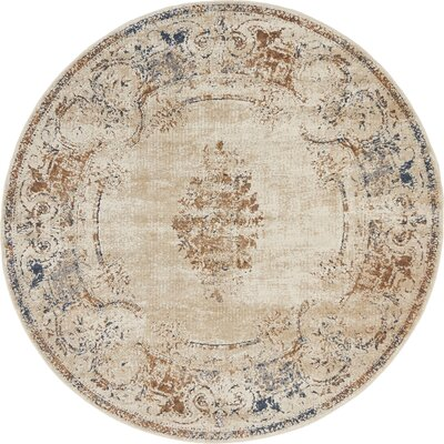 Abbeville Blue/Cream Area Rug Rug Size: Round 4 x 4