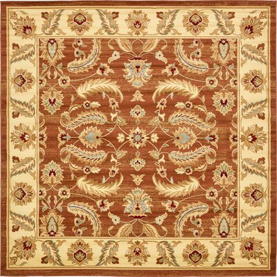 Fairmount Brick Red Area Rug Rug Size: Square 10