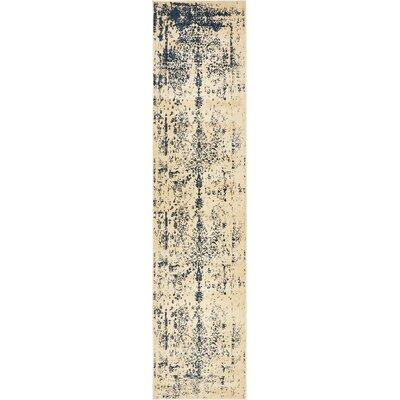 Ronin Beige/Navy Blue Area Rug Rug Size: Runner 3 x 13