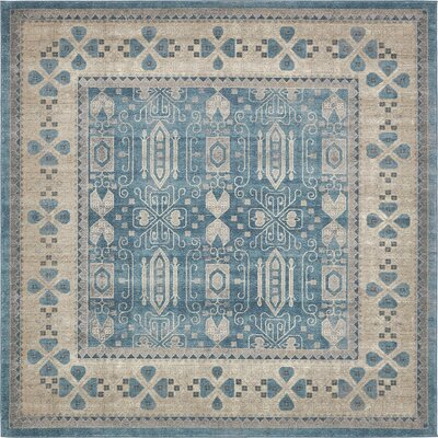 Jaiden Blue/Brown Area Rug Rug Size: Square 8