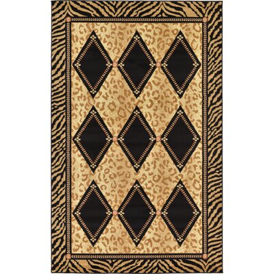 Jaina Light Brown Geometric Area Rug Rug Size: 5 x 8