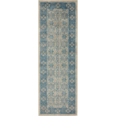 Jaiden Rectangle Beige/Blue Area Rug Rug Size: 2 x 6