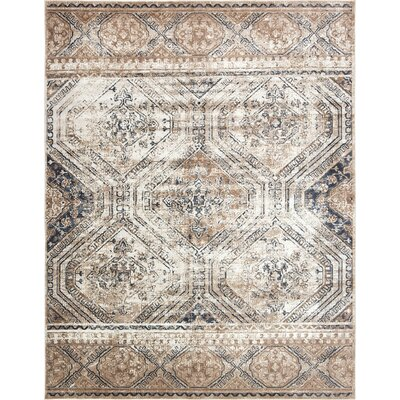 Abbeville Beige/Blue Area Rug Rug Size: Rectangle 8 x 10