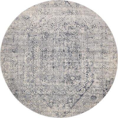 Abbeville Gray/Dark Blue Area Rug Rug Size: Round 8