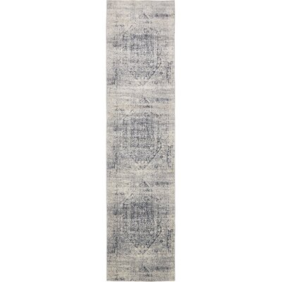 Abbeville Gray/Dark Blue Area Rug Rug Size: Runner 3 x 13