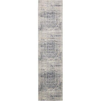 Abbeville Gray/Dark Blue Area Rug Rug Size: Runner 3 x 13