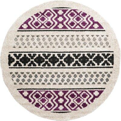 Landry Beige/Black/Purple Area Rug Rug Size: Round 8