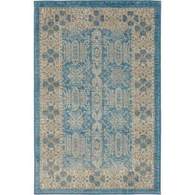 Jaiden Blue/Brown Area Rug Rug Size: 2 x 3