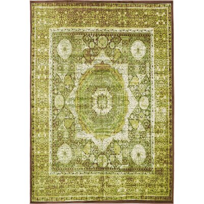Hezekiah Green/Brown Area Rug Rug Size: 7 x 10