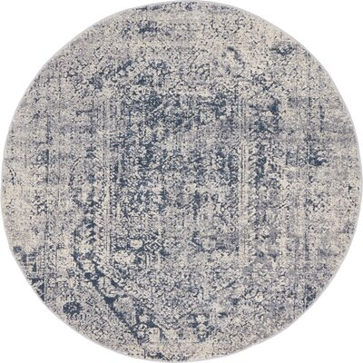 Abbeville Gray/Dark Blue Area Rug Rug Size: Round 4