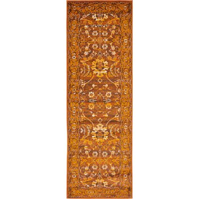 Bolton Orange/Brown Area Rug Rug Size: 2 x 6
