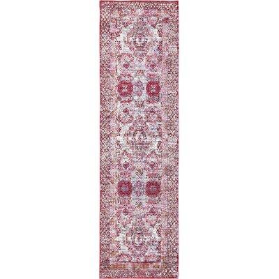 Center Red/Pink Area Rug Rug Size: Runner 27 x 910