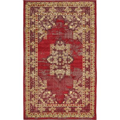 Jakeman Red Area Rug Rug Size: 5 x 8