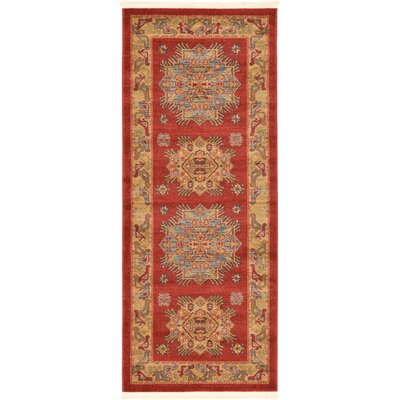 Jana Red Area Rug Rug Size: Runner 27 x 10