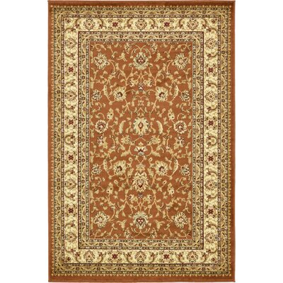 Fairmount Brick Red Oriental Area Rug Rug Size: Round 6