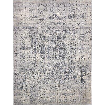Abbeville Gray/Dark Blue Area Rug Rug Size: Rectangle 9 x 12