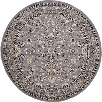Essehoul Gray Area Rug Rug Size: Round 8