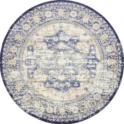 Koury Blue/Beige Area Rug Rug Size: Round 8 x 8