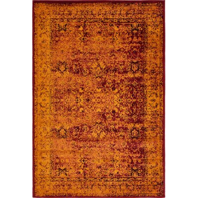 Yareli Red/Orange Area Rug Rug Size: 4' x 6'