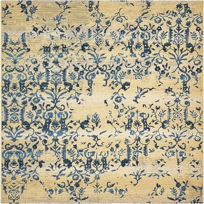 Eris Floral and Plants Beige Indoor/Outdoor Area Rug Rug Size: Square 6
