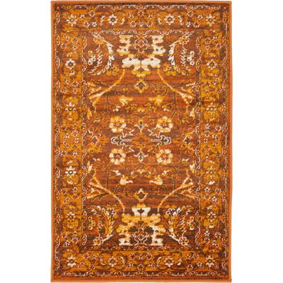 Bolton Orange/Brown Area Rug Rug Size: 2 x 3