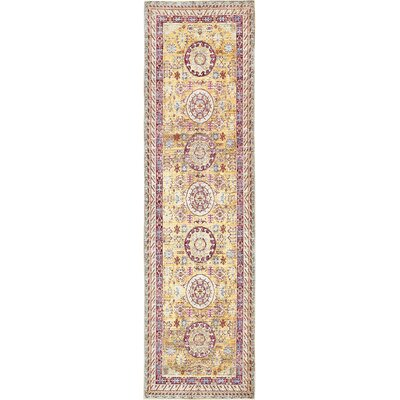 Carrico Yellow Area Rug Rug Size: Runner 27 x 91