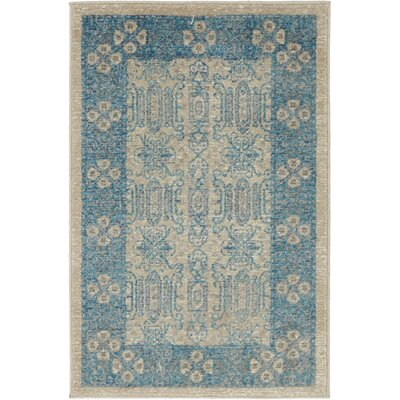 Jaiden Rectangle Beige/Blue Area Rug Rug Size: 2 x 3