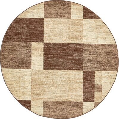 Bryan Light Brown Geometric Area Rug Rug Size: Round 8