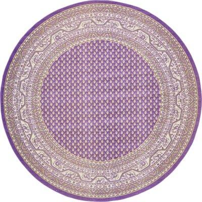Gillam Violet Area Rug Rug Size: Round 5