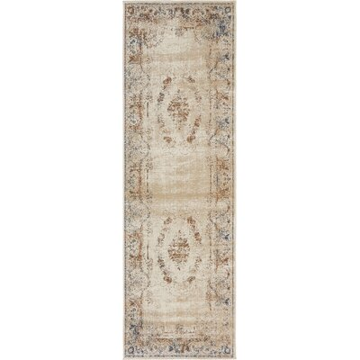 Abbeville Blue/Cream Area Rug Rug Size: Runner 22 x 67