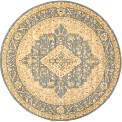 Jamar Blue/Cream Area Rug Rug Size: Round 6