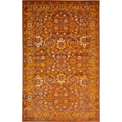 Bolton Orange/Brown Area Rug Rug Size: 5 x 8