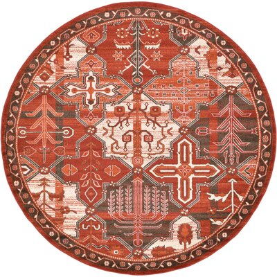 Irma Terracotta Area Rug Rug Size: Round 8