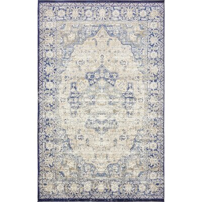 Koury Blue/Beige Area Rug Rug Size: Rectangle 5 x 8