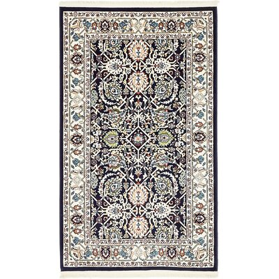 Courtright Navy Blue/Tan Area Rug Rug Size: 3 x 5