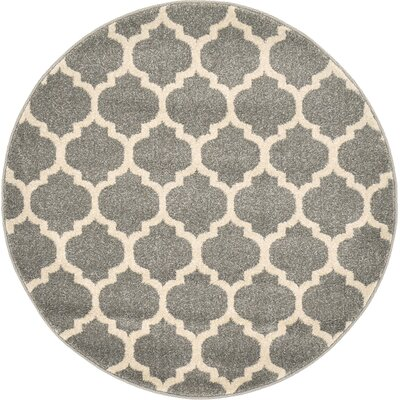 Moore Gray Area Rug Rug Size: Round 33