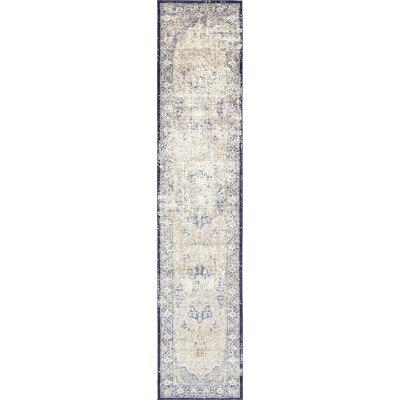 Koury Blue/Beige Area Rug Rug Size: Runner 27 x 122