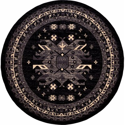Valley Black Area Rug Rug Size: Round 8