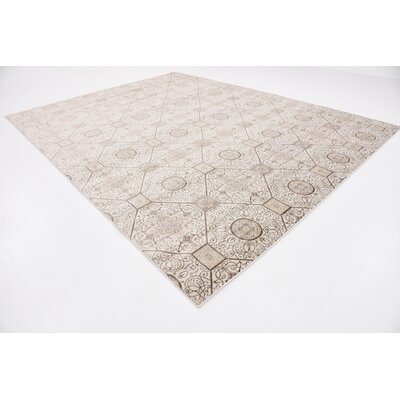 Mathieu Cream/Brown Area Rug Rug Size: Rectangle 10 x 13