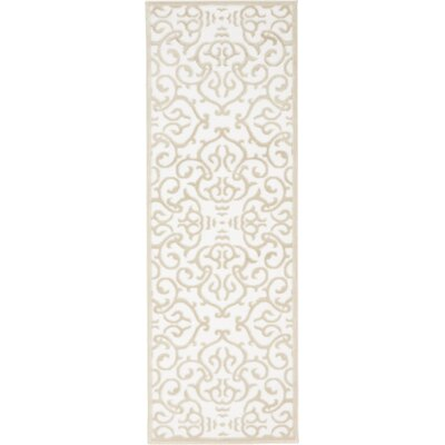 Mathieu Snow White/Beige Area Rug Rug Size: Runner 3 x 91